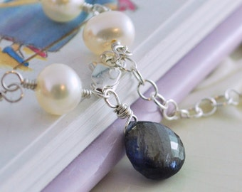 Child's Pearl Bracelet, White Freshwater Pearl with Iolite, September Birthstone, Sterling Silver Jewelry