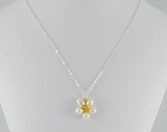 Child's Daisy Wedding Necklace, Flower Girl Jewelry, Freshwater Pearl, Yellow Tourmaline, Genuine Gemstone, Sterling Silver