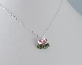 Child's Sterling Silver Necklace, Freshwater Pearl, Pink Blossom, Flower Girl Jewelry, Genuine Keishi Pearl and Real Rhodolite Garnet