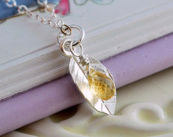 Genuine Citrine Jewelry Gemstone Necklace November Birthstone Child Girl Semiprecious Yellow Wire Wrapped Delicate Leaf Sterling Silver