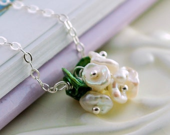 Flower Girl Necklace Genuine Freshwater Pearl Keishi Blossom Child Children Wire Wrapped Sterling Silver Jewelry