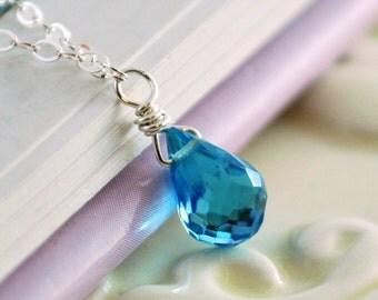 Child's Swiss Blue Topaz Necklace Sterling Silver Little Girl Children Genuine Gemstone December Birthstone Jewelry