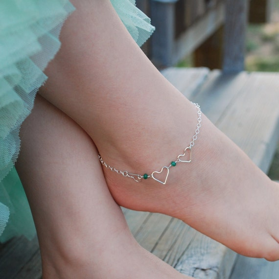 Genuine Emerald Jewelry, Child's Anklet, Sterling Silver Jewelry, May Birthstone