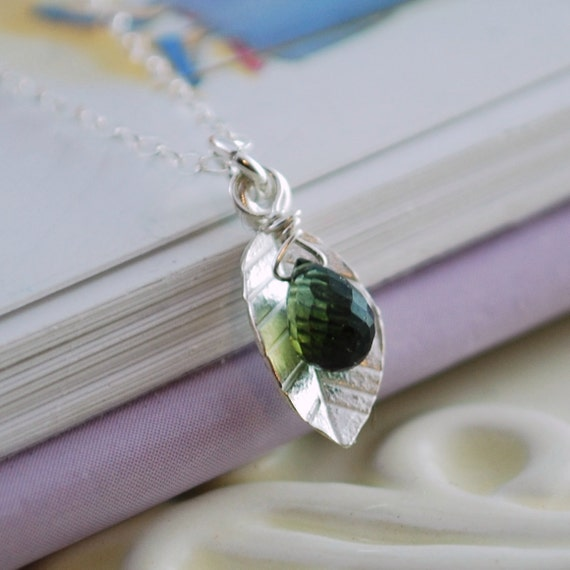 Child's Necklace Dainty Sterling Silver Leaf May Birthstone Jewelry Green Tourmaline Gemstone