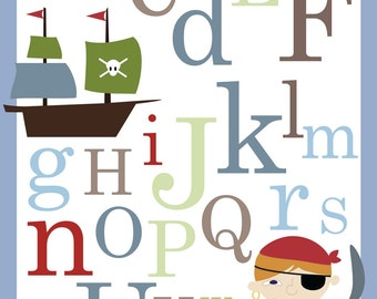 Pirate ABC Alphabet Poster print - 11 x 14 inches Baby nursery wall decor
