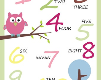 Owl Nursery decor - Numbers Wall Art