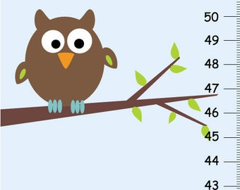 Personalized Owl Canvas Growth Charts- blue and brown