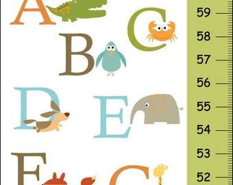 Alligator to Zebra Alphabet Canvas Growth Chart