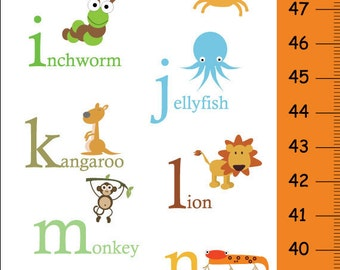 Personalized Alphabet Animals Children Growth Chart