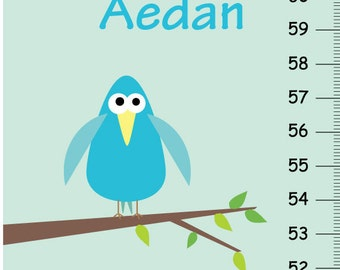 Personalized Gray & Blue Birds and Owl Canvas Growth Chart