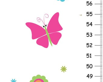 Personalized Bright Butterfly  Canvas Growth Chart