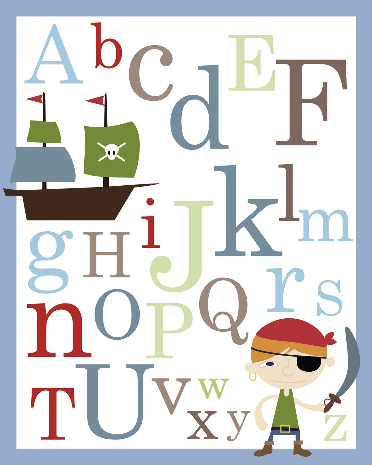 Baby Nursery Art Print Dog Abc Nursery Decor Alphabet Print: Pirate ABC Alphabet Poster Print 11 X 14 Inches Baby Nursery