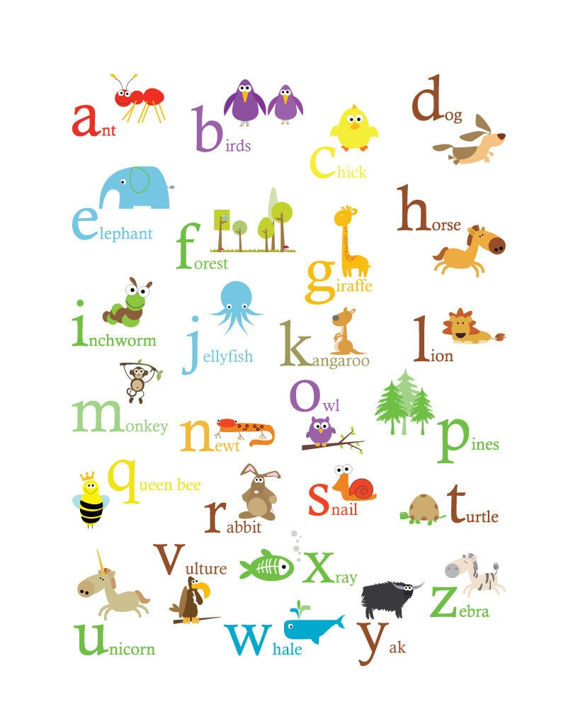 Alphabet Poster Primary Colors