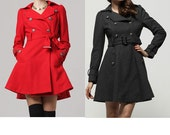 Winter coat / Outerwear/ double breasted coat / Charcoal/Red black coat (JS085)