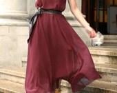 Burgundy silk spring dress (JS126)
