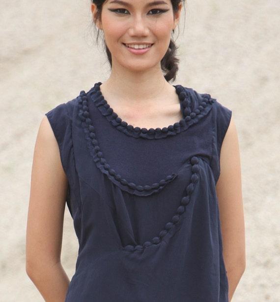 Handbeaded silk dress blue AS123