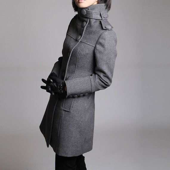 Wool coat/ grey gray red overcoat with long sleeves/ maxi coat with oversize button JS080