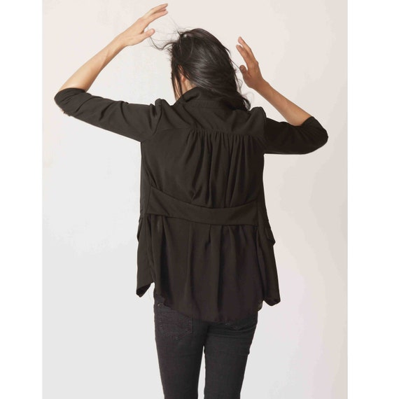 Three-quarter sleeve chiffon blazer J008 / Black blazer/ black jacket/blazers