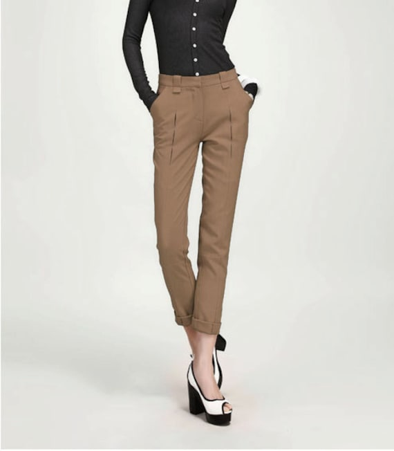 JS125 Brown pleated pants