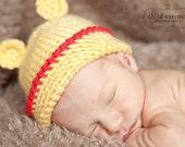 Pooh Bear Hat Newborn Photo Prop