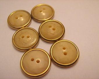Bakelite Buttons Vintage Ivory Gold Rimmed