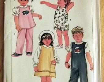 Simplicity 6730 Toddler Sundress Top Overalls Vintage Pattern