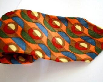 Autumn Colors Geometric Vintage Necktie