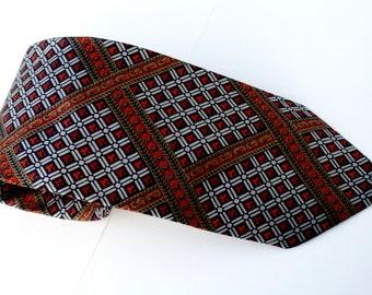 Silk Vintage Tie Pumpkin  Forest Green Paisley Diamonds Neck Tie Men's Tattersall
