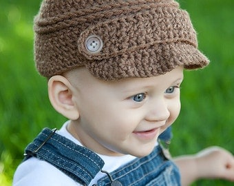 PDF Crochet Pattern Button Strap Newsboy Cap