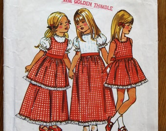 Simplicity 5383 Girl's Dress and Pinafore Vintage Sewing Pattern