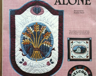 Not By Bread Alone Quilted Wall Hanging Sewing Pattern Vintage