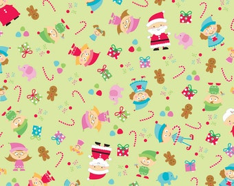 Santa's Workshop - Green Santa Main by Doodlebug Design for Riley Blake Fabrics