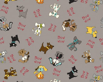 Puppy Park - Park Dogs in Gray by Bella Blvd for Riley Blake Designs