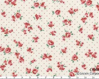New Old 30's - White Small Flowers on Dots from Lecien Fabrics