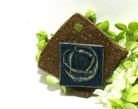 3D Ceramic Pendant - Blue Rose in the Rough- (OOAK Stoneware Focal Pendant)