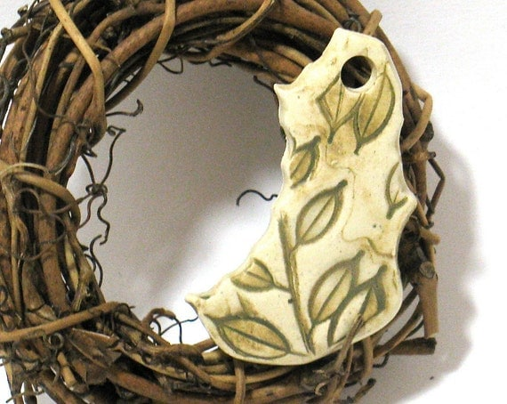 Spring Leaf Ceramic Pendant - OOAK Focal Pendant in Cream and Green