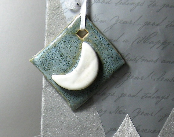 Honeymoon Wishes Gift Tags - OOAK Ceramic Ornaments (Set of 2)