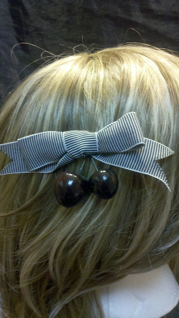 Bow with Cherries Hair Clip