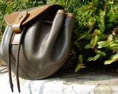 Taupe drawstring pouch purse by 80's Charles Jourdan