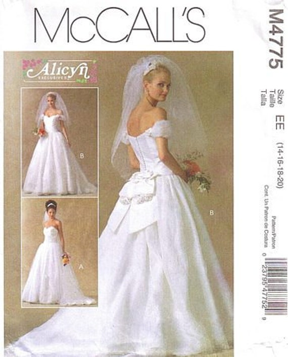 Items similar to mccall 39 s alicyn bridal gown pattern m4775 for Mccall wedding dress patterns