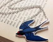 Swallow necklace ~ illustrated bird necklace