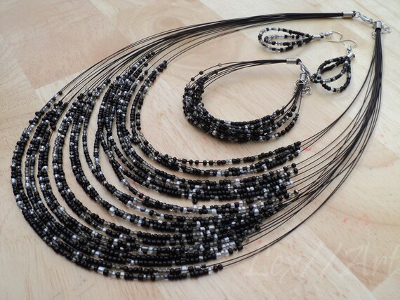 SALE Jet Black Multistrand Seed Bead Necklace Set