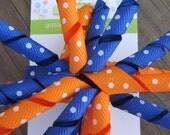 Orange and Blue Swiss Dot Korker Hair Bow