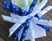 Blue and White Korker Hair Bow