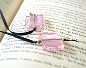 Pink Reader Glass Beaded Black Ribbon Bookmark