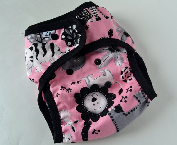 diaper cover  - jungle babies on pink - S, M, L - custom made