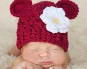 Girl Hat, 12 to 24 Months Baby Girl Hat, Monkey Girl Hat, Burgundy, White and Yellow Flower. Great for Photo Props. Gift for Girl.