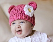 Newborn Girl Hat, 0-1 Months Baby Girl Monkey Hat, Baby Crochet Flapper Hat, Rose Pink with White and Yellow Flower. Great for photo shoots.