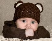 Baby Boy Hat, Boy Monkey Hat, 12 to 24 Months Baby Boy Monkey Hat, Chocolate Brown, Cream Ears, Boy Photo Shoot, Baby Boy Gift, Kids Hat.