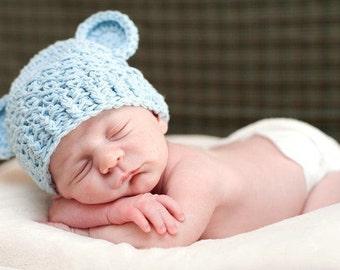 NEWBORN Boy Hat, 0-1 Months Baby Boy Hat, Baby Beanie, Baby Monkey Hat, Monkey Hat, Baby Blue, Ears, Newborn Photo Props, Baby Shower Gift,